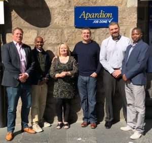 The FRG Senior Management team, Jamal Tahlil, Edgar Chibaka and Simon Alderson, with former Apardion owners John and Helga Macfarlane and new MD Derek Nielson.
